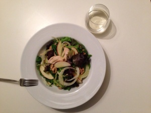 Chicken fennel walnut salad