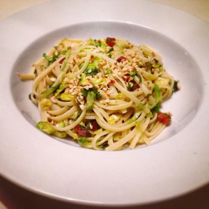 Sprout and pancetta pasta