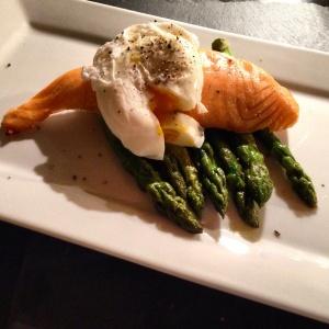 Poached egg, salmon, asparagus